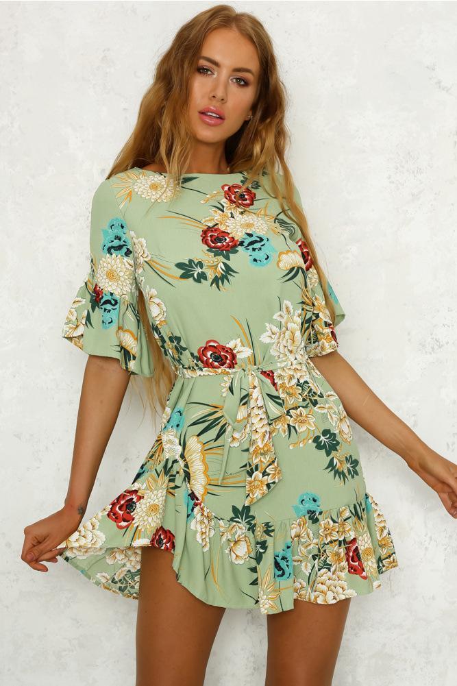 d1a10d576f Compre Estampado Floral Vestido De Playa Sexy De Bohemia Mujer Manga Flare  Vestidos De Verano O Cuello A  33.44 Del Godblessus16388802