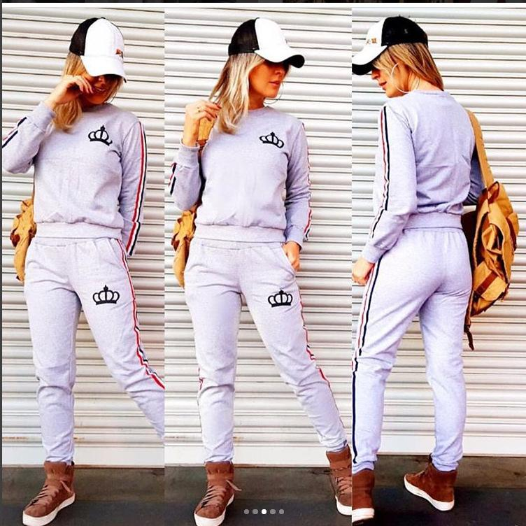 Wholesale-2019 New Spring Women Stportswear Tracksuit Long Sleeve Sweatshirts Running Jogging Casual Fitness Workout Outfit Set Sport Suit