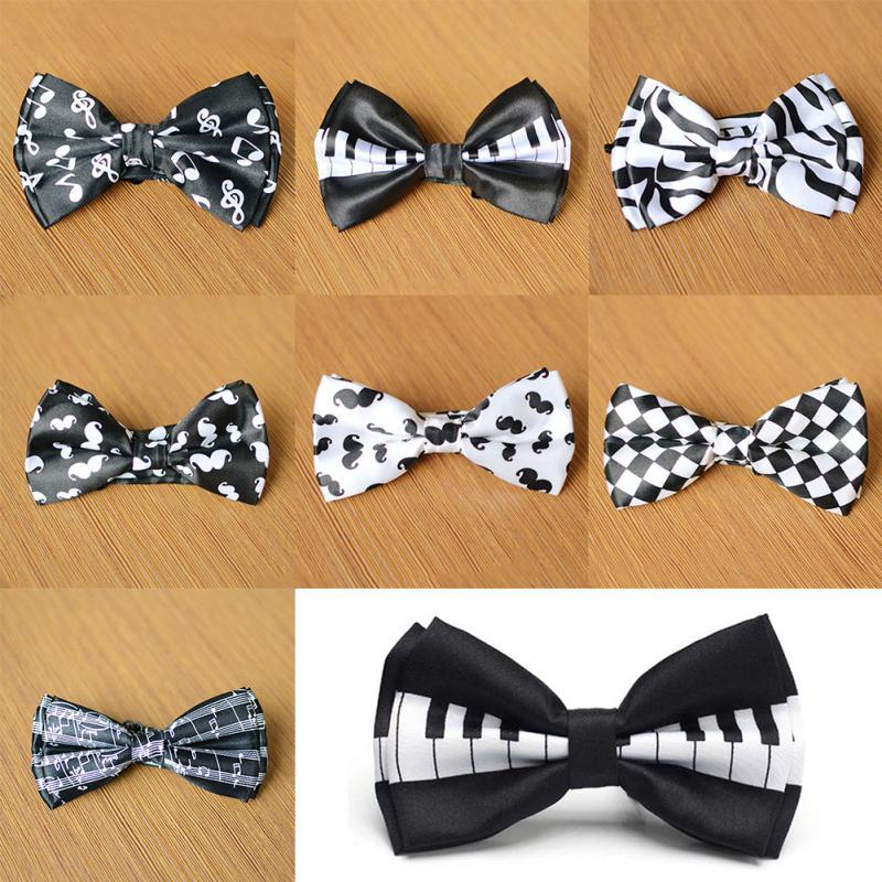 Men Bow Tie Piano Keyboard Printed Bow Tuxedo Bowtie Party Wedding Unisex Magician Waiter Bowties