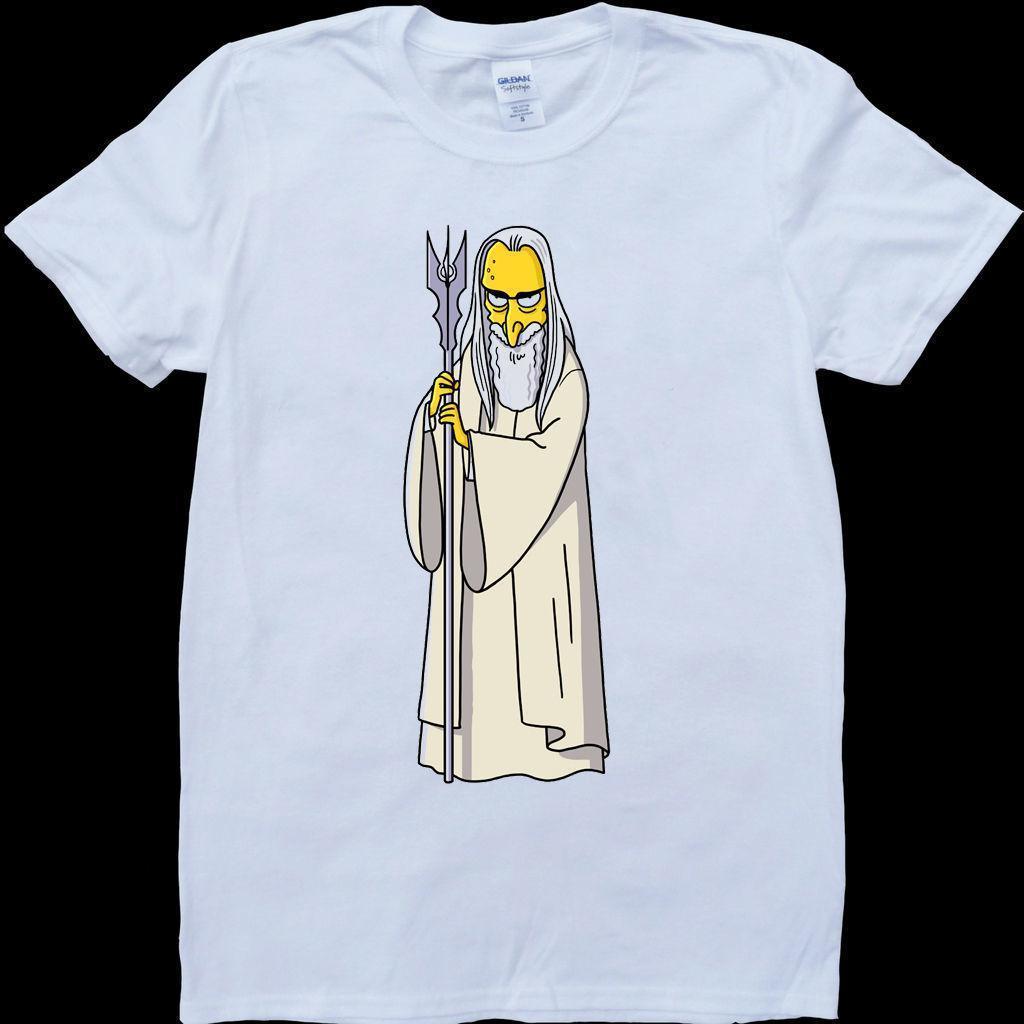saruman lord of the rings cartoon mens white custom made t shirt