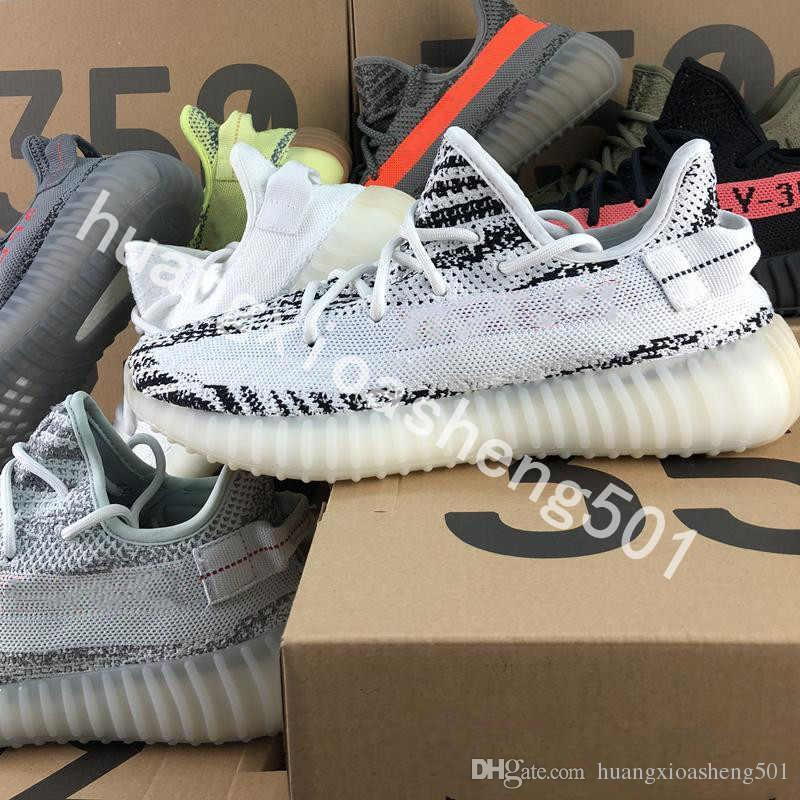 Bubble Wrap 2019 V2 Kanye West 2019 True Form Top Quality Running Shoes Butter Sesame Zebra Cream White Black Bred Orange Stripes Sneakers