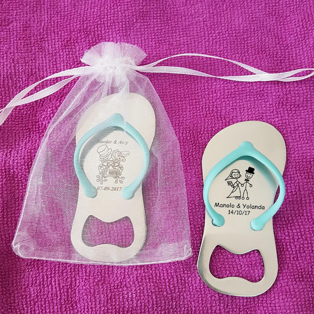 20pcs Custom Engraved Sandal Flip Flop Shaped Bottle Opener Personalized Wedding Gift Party Favor with Organza Bag, Blue / Pink
