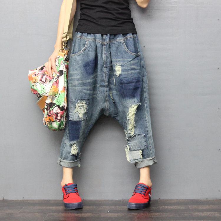 new product 88708 12495 Acheter 2019 Printemps Automne Femmes Vintage Taille Élastique Déchiré  Jeans Pantalon Femme Copain Lâche Fit Baggy Jeans Femme Casual Denim Pants  De  57.8 ...
