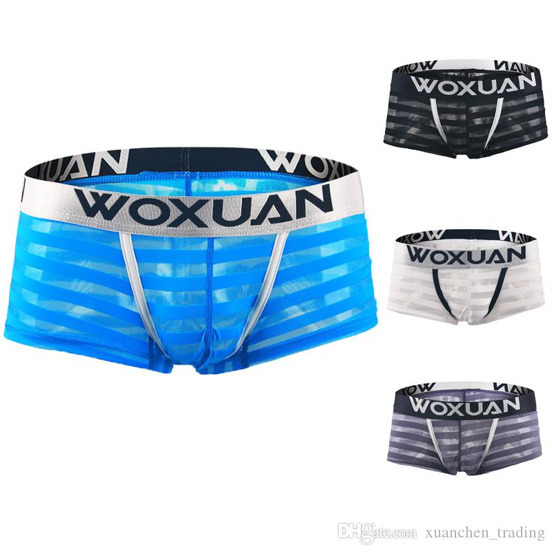 c354ddbaf515 Men Sexy Boxer Briefs Shorts Soft Underpants See-Through Mesh Stripe ...