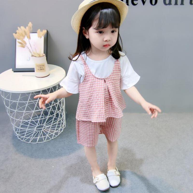 550e8147e29a3c Großhandel Neue Kinderkleidung Baby Mädchen Kleidung T Shirt Top + Weste +  Shorts Dreiteiligen Anzug Von Fkansis