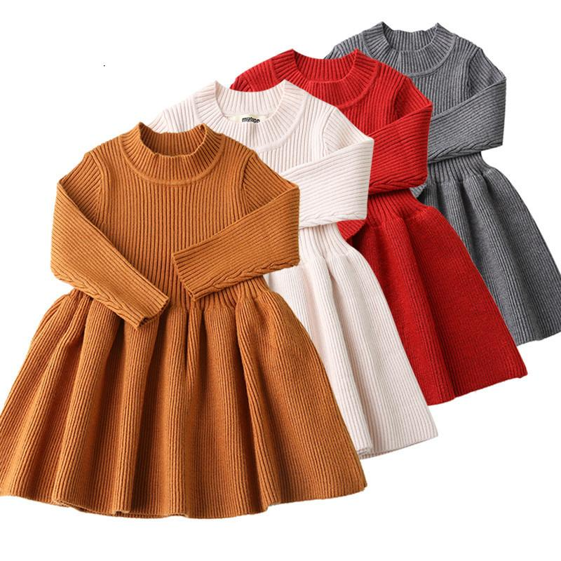 250c29b99fb Baby Dresses For Girls Autumn Winter Long Sleeved Knit Princess Dress Lotus  Leaf Collar Pocket Doll Dress Girls Baby Clothing Knitted Sweaters For Kids  Free ...