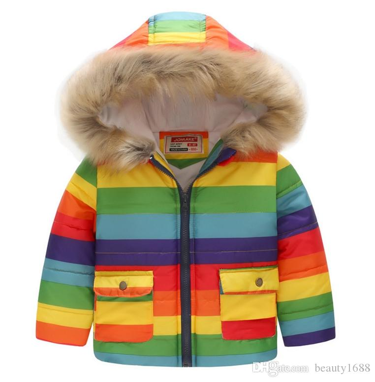 Cute Girls Warm Rainbow Printed Coat With Fur hooded Children's Cotton Garment Thickening Winter Jacket For Kids School(Length 90-130cm) Y16