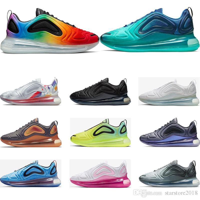 détaillant en ligne f5818 0945e nike air max 720 2019 Nouvelles chaussures de course pour homme Be True  Pride triple blanc noir NORTHERN LIGHTS DAY entraîneur sportif sneaker ...