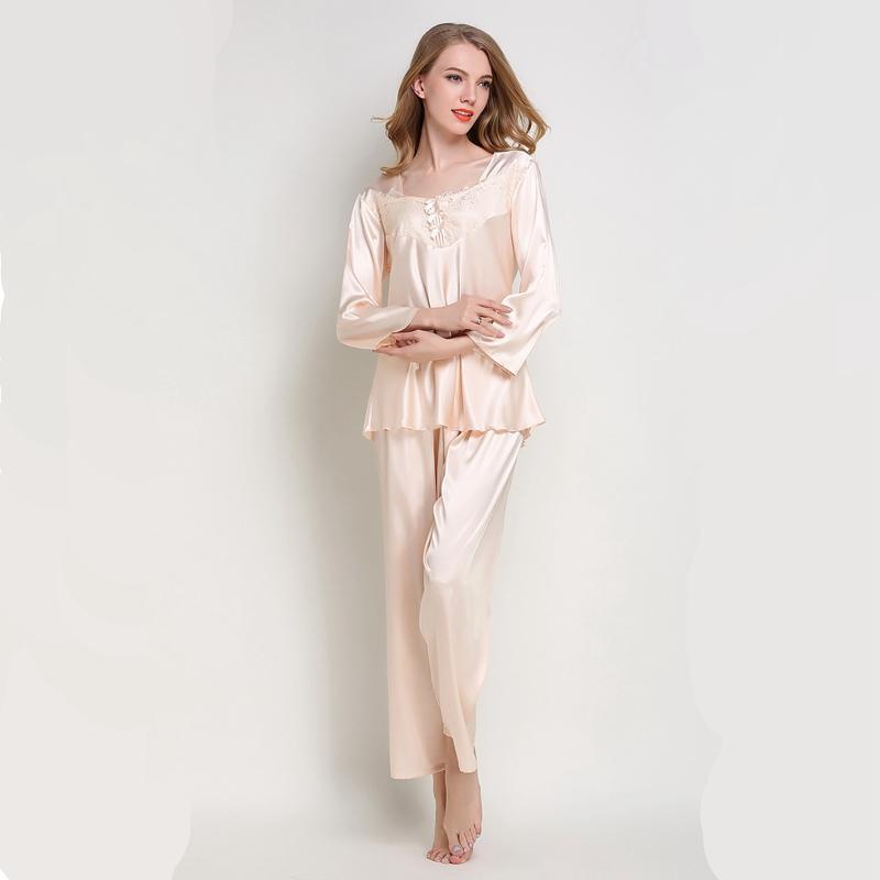 65974b465f6cc5 Mulheres pijama terno De Seda Pijamas de Cetim Pijama Conjunto Mulher  Calças De Seda Nightwear rosa pj set outono