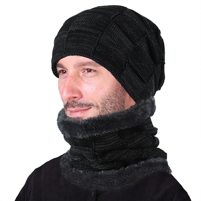 купить оптом зимние шапочки мужчины с шарфом вязаная шапка шапки
