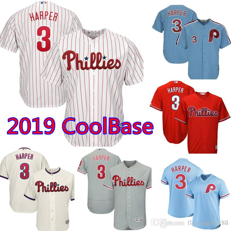 buy online 162a3 94065 2019 Philadelphia Phillies Bryce Harper Jersey White Mens Majestic Road Cool  Base Authentic Collection Player Embroidery Baseball Jerseys From .