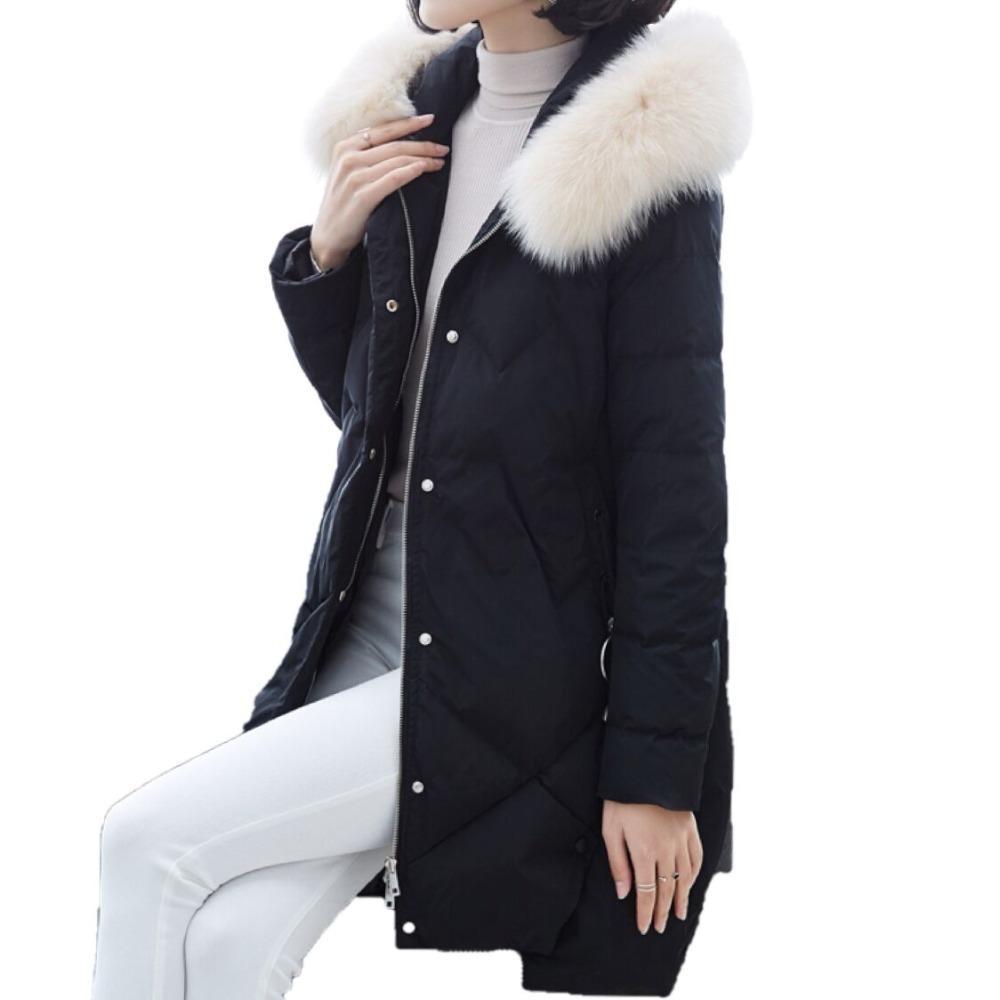 buy online 113f9 19b80 Cappotto di piumino d'anatra bianca di inverno nuovo piumino Cappuccio di  pelliccia di volpe reale con piumino Cappuccio di piumino lungo femminile  di ...
