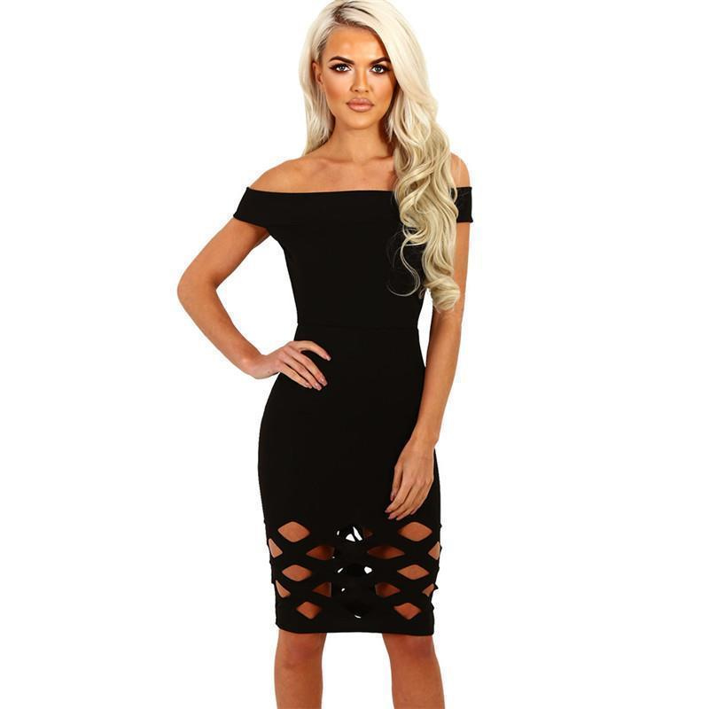e307373a357 Party Dresses 2019 Hollow Out Off Shoulder Sexy Bodycon Sheath Mini Dress  Night Club Dresses Clothes Black Red Blue LJ8643Y Floral Dress Women Casual  Purple ...
