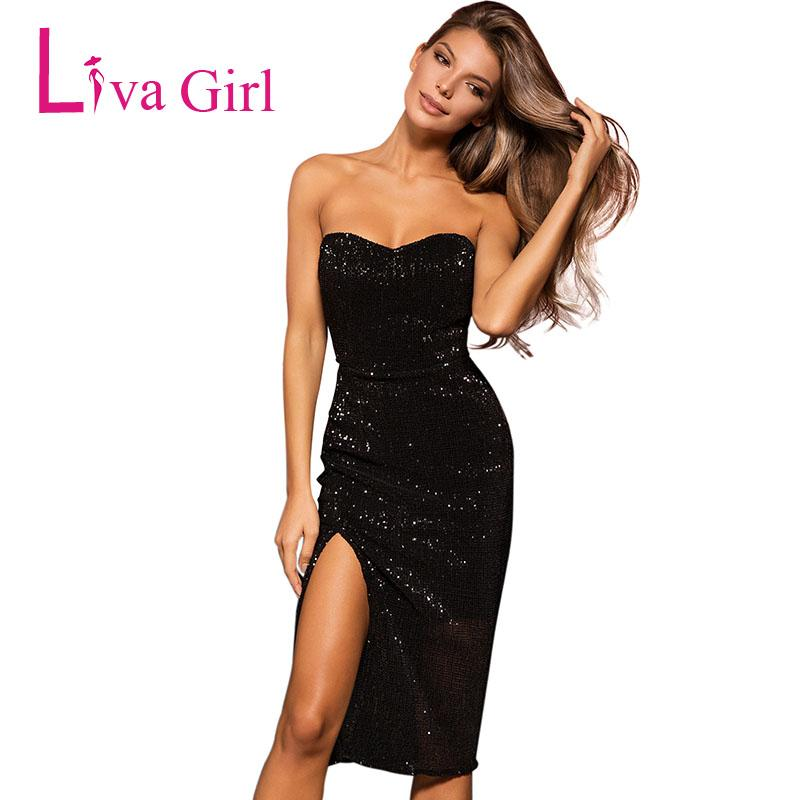 5afb83a2082 LIVA GIRL Black Sexy Sequined Bodycon Dress Women Summer Strapless High  Slit Midi Dresses Night Club Wear Sweetheart Vestidos XL Dress Online Shirt  Dresses ...