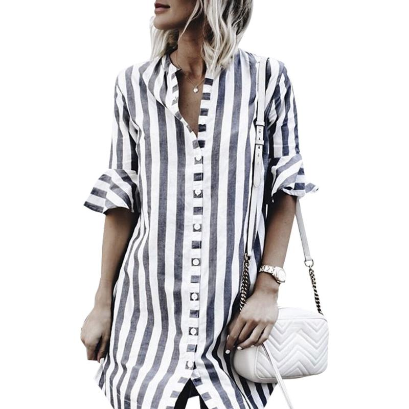 2018 Summer Striped Shirt Casual Loose Flare Sleeve Blouse Women Button V Neck Office Long Sleeve Shirt Women Blusas Plus Size