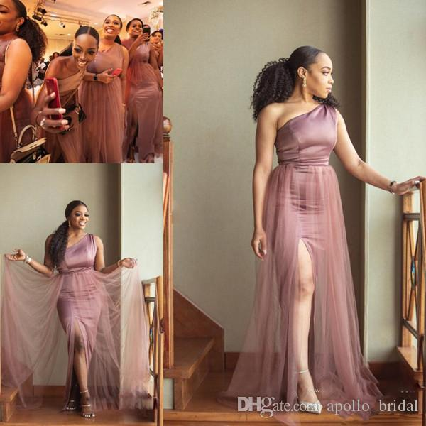 Dusty Pink African Mermaid Bridesmaid Dresses Sexy 2018