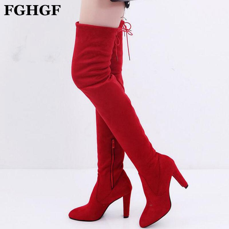 Women Casual Over the Knee boots shoe 2019 Spring woman Pointed Toe Platform high heels Female pumps ladies Plus size 35-43 Y450