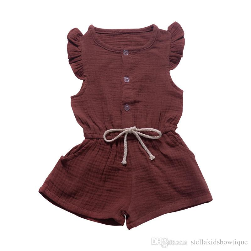 Summer children's wear small flying sleeves jumpsuit shorts one with solid color open a row of button children's clothing