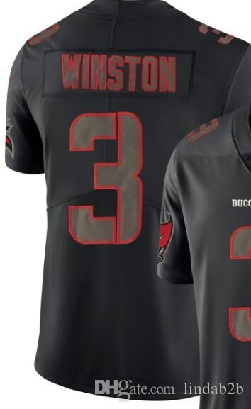 Men Tampa Bay 3 jersey shirts Man Embroidery and 100% stitched 2019 Impact Black Color Rush Limited Football Jersey
