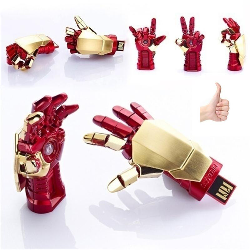 100% Hot sale Os vingadores Homem De Ferro USB Flash Drive 128 GB 64 GB 32 GB 16 GB 8 GB Pen Drive Presente USB 2.0 memory stick