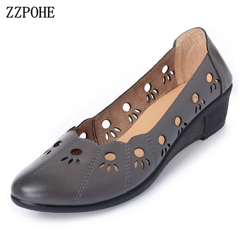 f0d27813a33e8 Zzpohe 2019 Summer Shoes Woman Genuine Leather Fashion Sandals Women S  Causal Soft Comfortable Slip On Wedges Mother Shoes Mens Sneakers High  Heels From ...