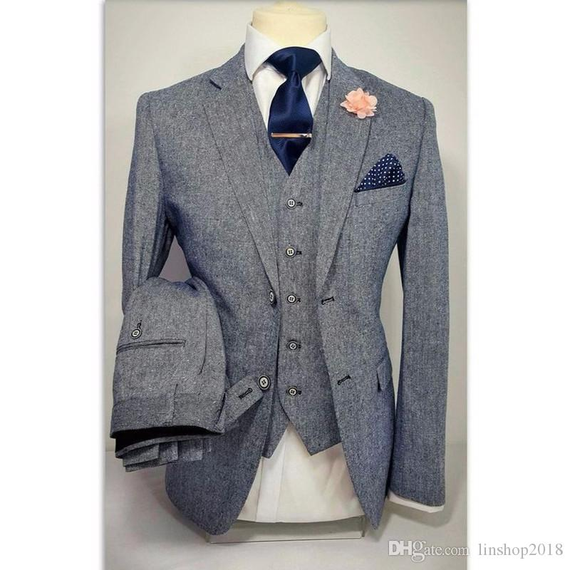 2019 Grey Tweed Formal Men Suit Slim Fit Blazer Masculino Custom