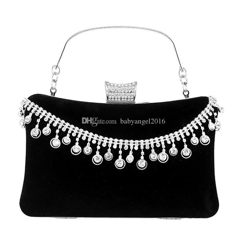 Tassel Rhinestones Women Evening Bags Velvet Diamonds Small Day Clutch For Party Purse