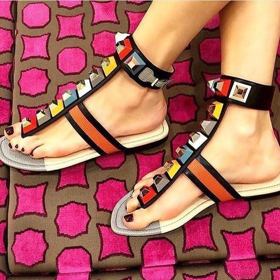 975a7ca41 2019 New Rainbow Color Rhinestone Summer Flat Shoes Women Gladiator ...
