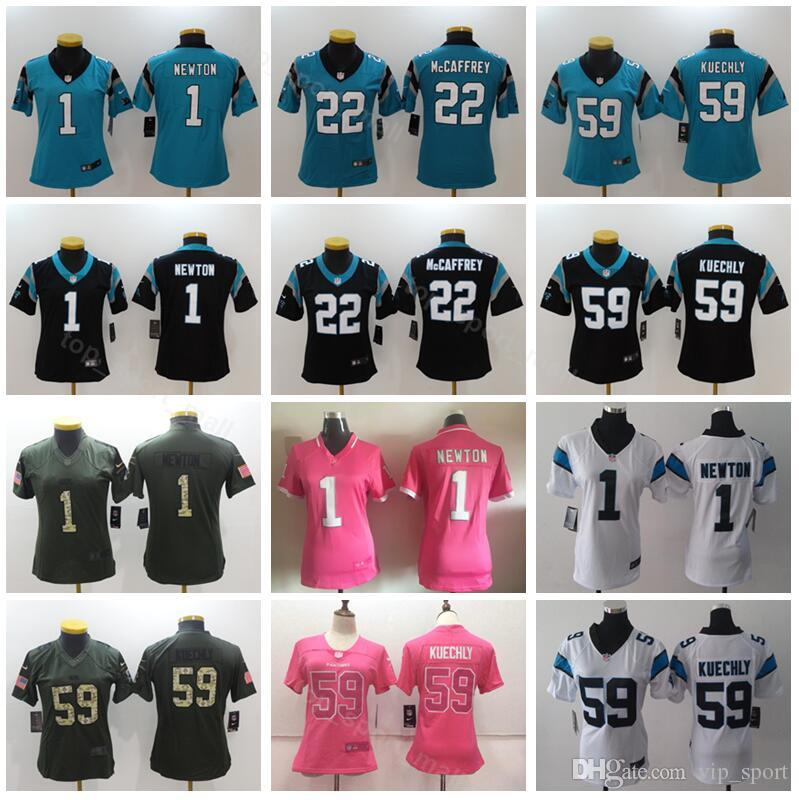 c71ee61c579 2019 Carolina Women Panthers Cam Newton Jersey 1 Lady Football 22 Christian  McCaffrey 59 Luke Kuechly Woman Jerseys Black Blue White Pink Green From ...