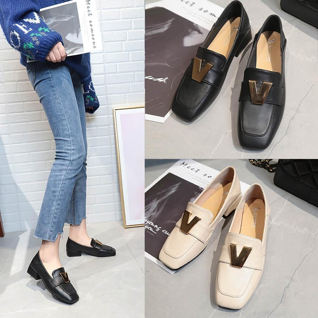 dbe3756c38939 Shoes 2019 Women's Pumps New Fashion Spring Summer Leather Women Low Heel  Pumps Square Toe Party Work Hot Loafers