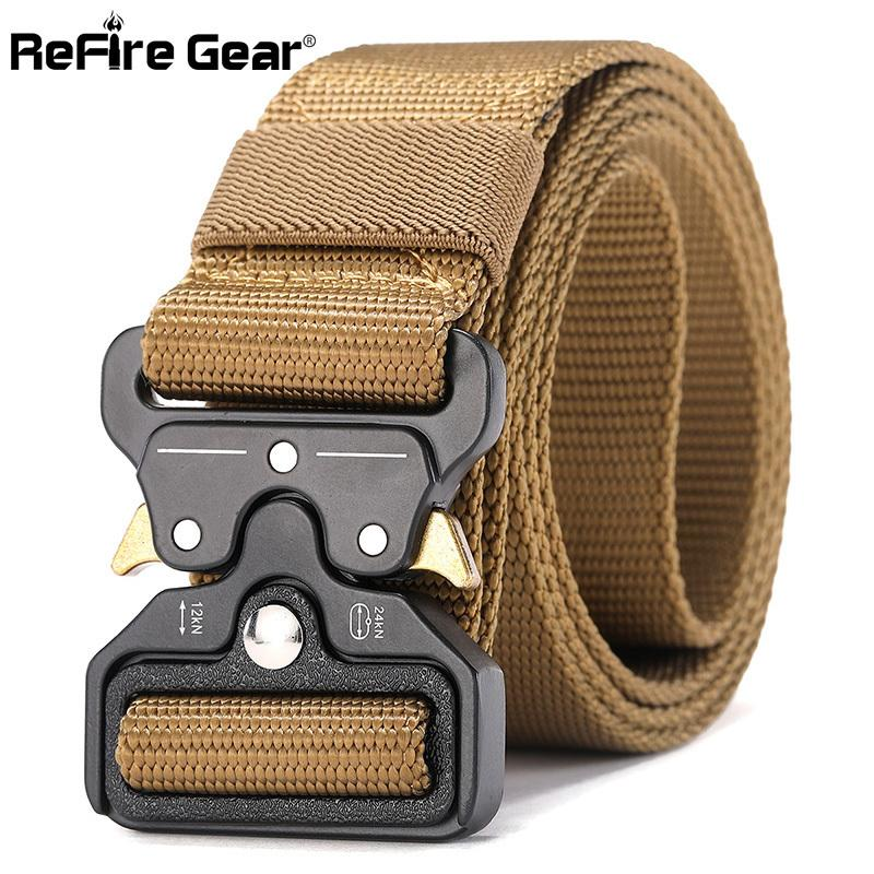 Refire Gear Military Equipment Quick Release Army Belt Men Heavy Duty Combat Tactical Belt Casual Durable Nylon Strap Waist Belt C19021601
