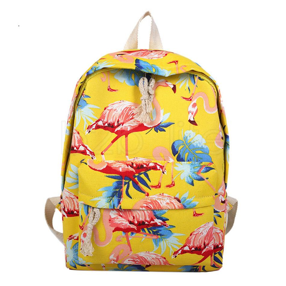 ec64d8ba31d0 Flamingo Pattern Perilla Backpack Prited Women Cute Female Travel Knapsack  Canvas ShouldersTeenage Girls School Bag AAA1811 Online with  14.86 Piece  on ...