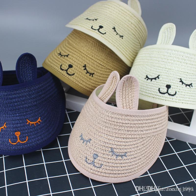 Children's Beach Hat Girls Cute Rabbit Ears smile Empty Top Summer Straw Hats Kids Folding Sunshade Cap Baby Sun Hat for 1 To 6 Years