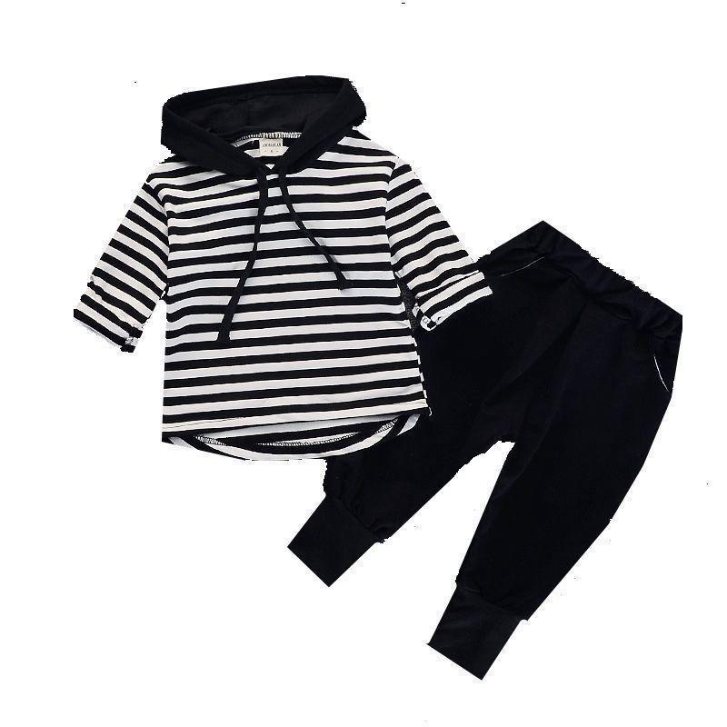 103a4e208 2019 Spring Autumn Baby Boy Girl Clothes Striped Hooded T Shirt ...
