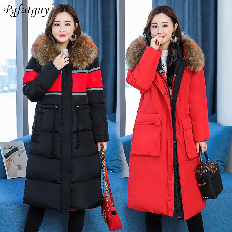7c8008e5a24fb 2019 2018 Winter Jacket Women L 5XL Plus Size Womens Parkas Back Crane  Embroidery Thicken Outerwear Hooded Winter Coats Female Jacket From  Runlione