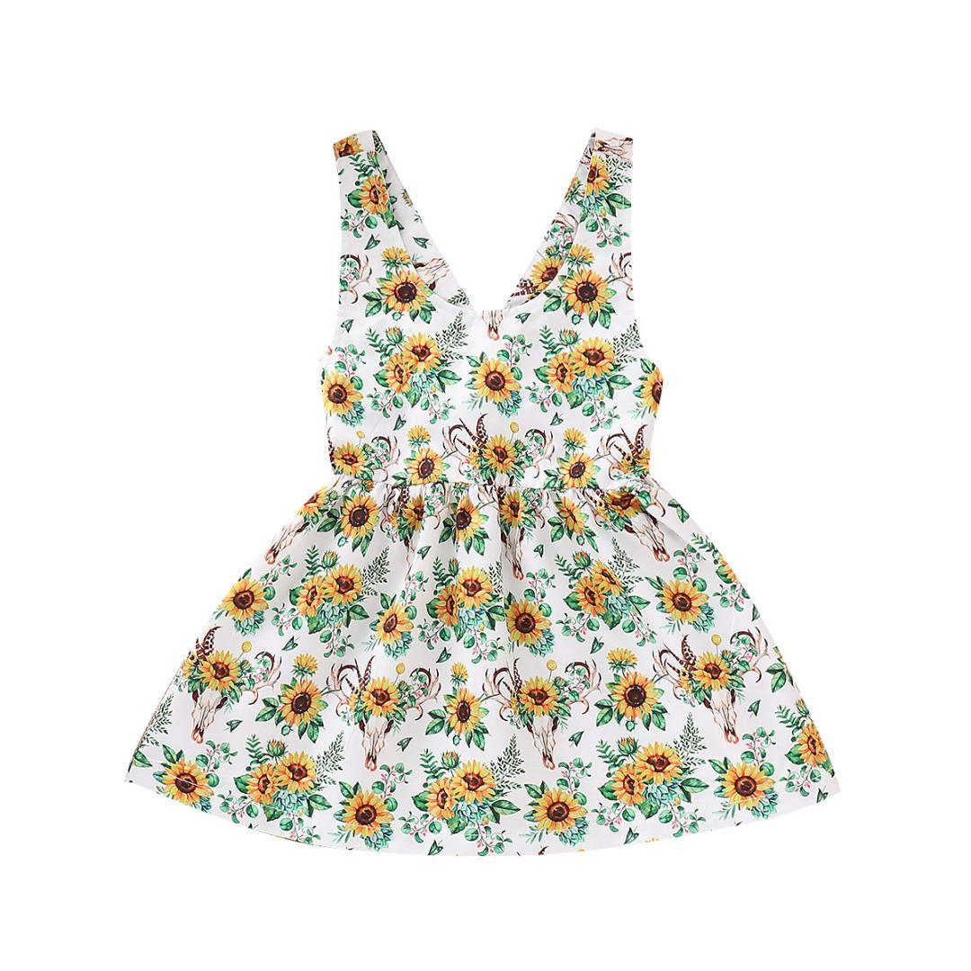 5ea1a7d7ba 2019 Sunflower Kids Baby Girls Floral Princess Party Dress Sundress Summer  Clothes From Begonior