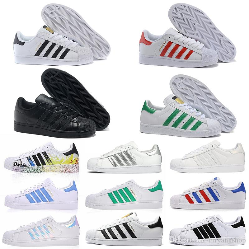 2020 New arrival brand super star designer casual flat shoes triple black green red for mens women small white shoes size 36-45
