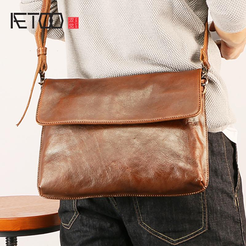 1ea3ac7487a0 AETOO Fashion Retro Men S Leather Shoulder Bag