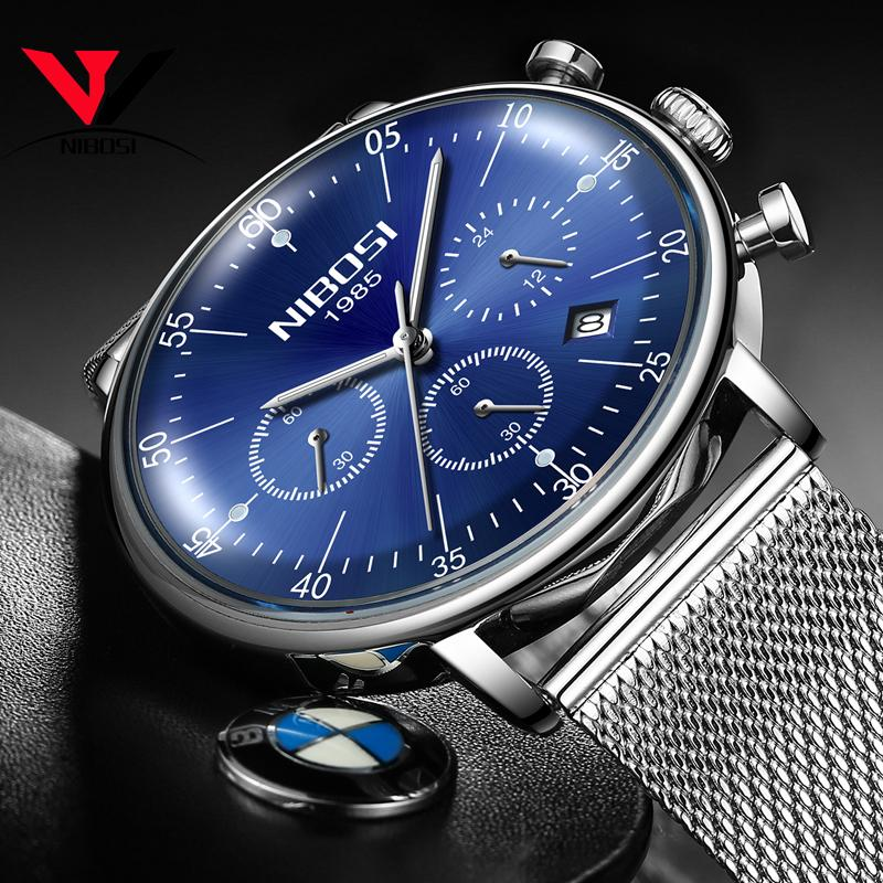 Mens Watches NIBOSI Top Brand Luxury Waterproof Ultra Thin Date Clock Male Steel Strap Casual Quartz Watch Men Sports Wristwatch