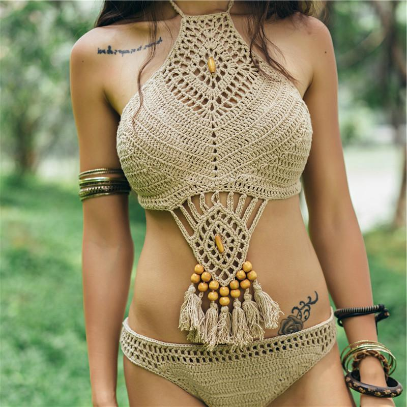Tank Heart Bohemia Crochet Vintage Sexy Bikini Set Knit Sexy Push Up Beachwear Women Beach Bathing Swimsuit, 2 colores