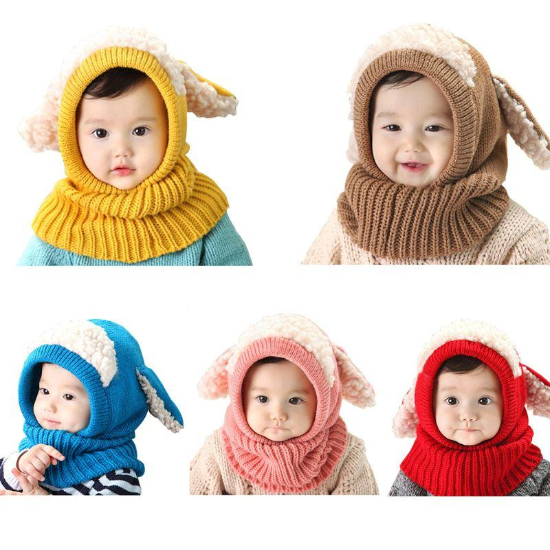2019 Baby Kids Winter Crochet Knitted Hat Scarf Contrast Color Plush  Patchwork Hooded Earflaps Cute Puppy Ears Beanie Cap Neck Warmer From  Jingtianwat 9fa5edd313d7