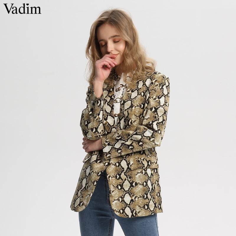 34ecaedbf7028 Vadim vintage snake print blazer pockets Notched collar long sleeve coat  outerwear female retro loose casaco feminines