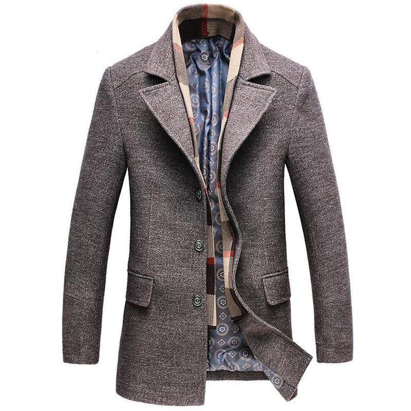 Wollmantel Männer Winter Dicke Windjacke Abnehmbare Schal Mantel Abrigo Hombre Männliche Beiläufige Lange Jacke Bussiness Trenchcoats