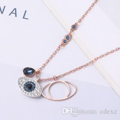 Wholesale Crystals Form Swarovski Devil S Eye Necklace Fashion Temperament  Women S Short Clavicle Chain Jewelry Campus Wind Selection For Elegant Lady  ... e9f9bc657