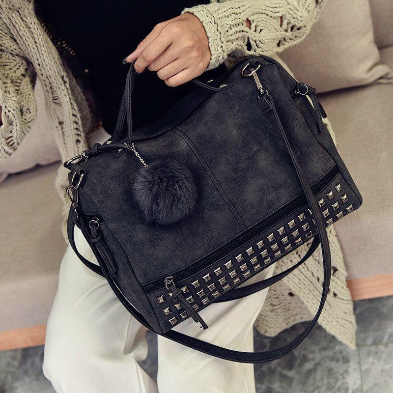 2379c69cc8 European Style Retro Matte Handbags 2019 Pu Leather Women S Designer Handbag  Big Tote Bag High Quality Rivet Tassel Shoulder Bag Cheap Designer Handbags  ...