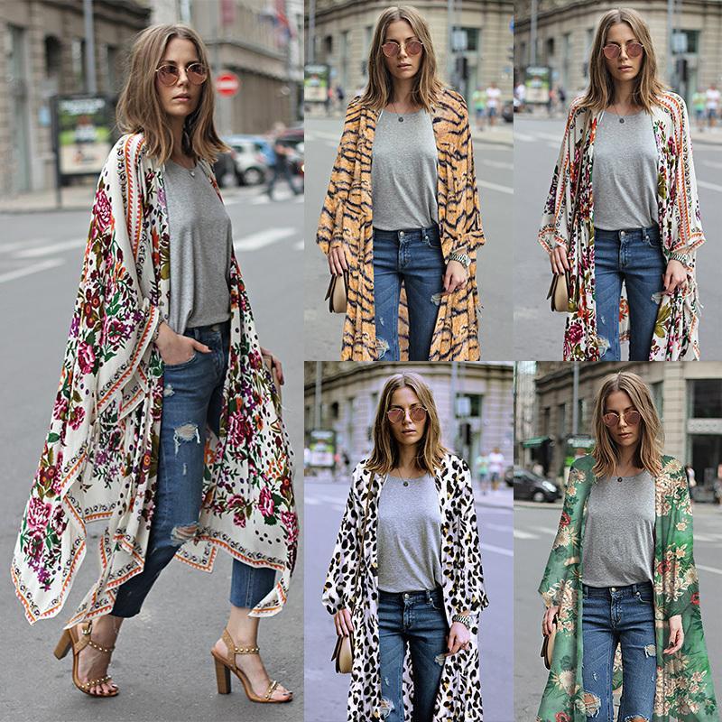 801c8088 2019 Women Chiffon Cardigan Floral Leopard Print Asymmetric Boho Outerwear 2019  Summer Long Kimono Plus Size 3xl 5xl Cover Ups C19040402 From Shen8407, ...