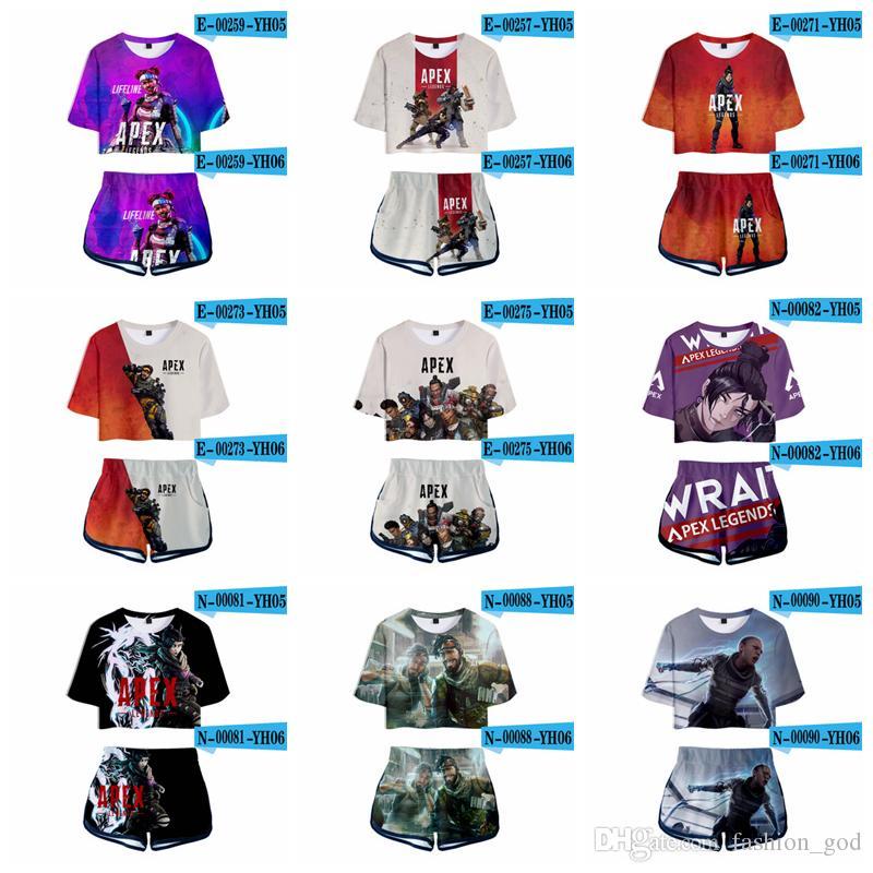 Xl Sports Apex >> Apex Legends Tracksuits Two Piece Set 3d Print T Shirt Shorts Suit Summer Apex Legends Sports Tops Shorts Women Clothes Set Yfa783