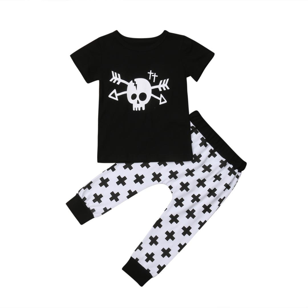 280d4c877c7b 2019 2019 Brand Toddler Kids Baby Boy Skull T Shirt Tops Pants ...