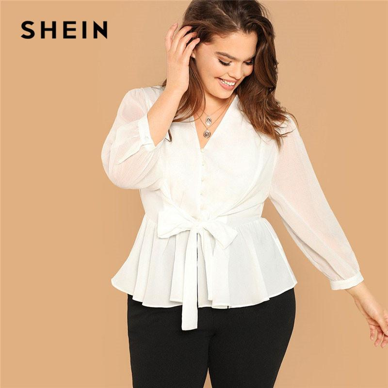 fb4a36a305 2019 SHEIN White Plus Size Button Front Belted Peplum Ruffle Hem Top Long  Sleeve V Neck Womens Tops And Blouses 2019 Ladies Tops From Biusec, ...
