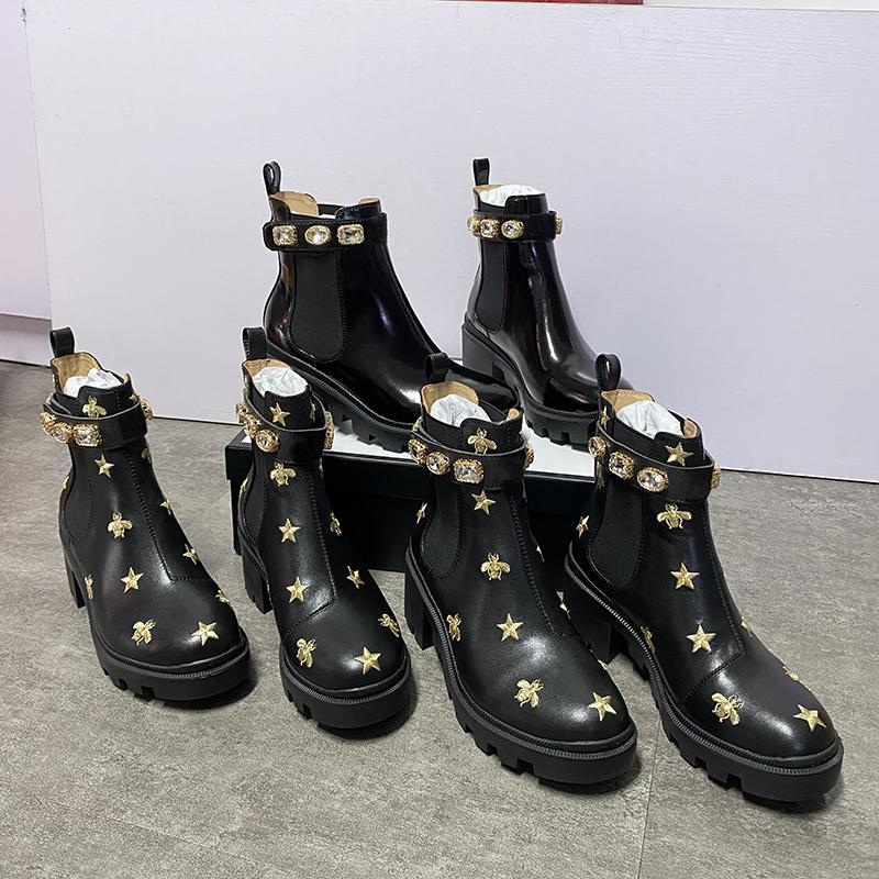 Fashion Women Martin Boots Top Calfskin Ankle Bee Desert Shoes Chunky High heeled Cowboy Boots Black Brown Diamonds Martin Booties EU42